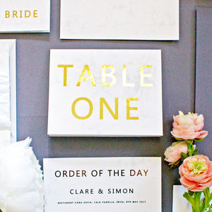 Marble And Gold Wedding Table Name/Number Free Standing - new in wedding styling
