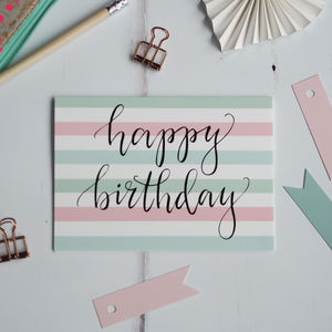 Stripey Happy Birthday Card - birthday cards