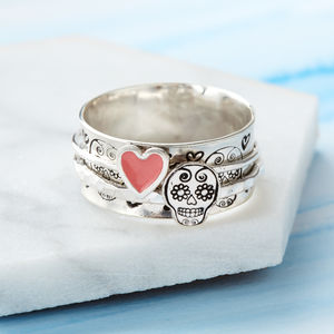 Sugar Skull Sterling Silver Spinner Ring - rings