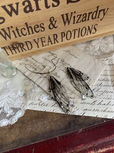 Magical Black Faerie Wing Earrings