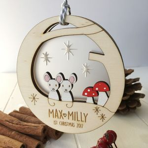 Personalised Baby Twins First Christmas Mouse Bauble