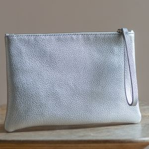 Personalised Large Leather Clutch With Satin Lining