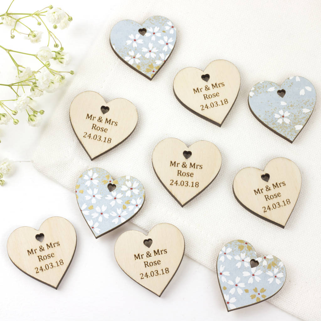 personalised cherry blossom wedding favour hearts by artcuts ...