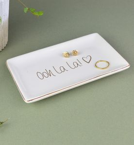 Gold And White Jewellery Dish Oh La La Or Love Design