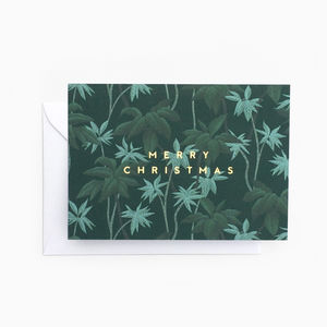 Tropical Foliage 'Merry Christmas' Card
