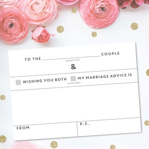 Pack Of 25 Wedding Advice Cards - advice cards & table games