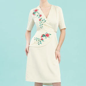 Wrap Style Embroidered Dress With Forties Detailing - dresses