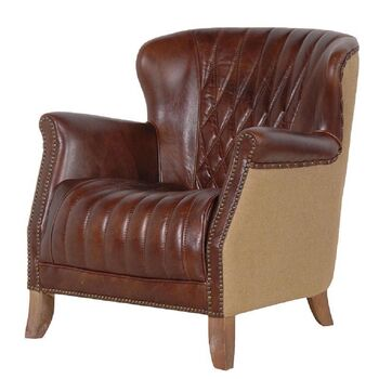 Diamond Back Brown Leather Armchair