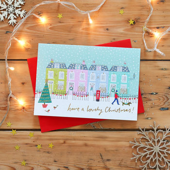 Pastel Houses Christmas Card