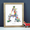 Personalised A To I Wildlife Alphabet Letter Print