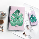 Tropical Leaf Print Personalised Notebook