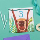 Monkey 3rd Birthday Card