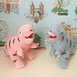 Pink And Blue Knitted T Rex Dinosaur Rattles