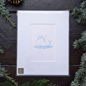 Blue Whale Letterpress Mounted Print