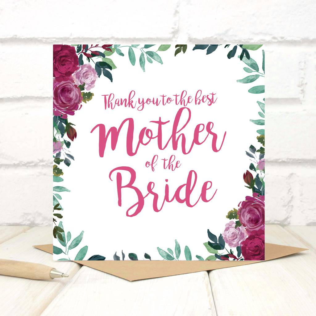 Personalised Thank You Mother Of The Bride Card By Chi Chi Moi