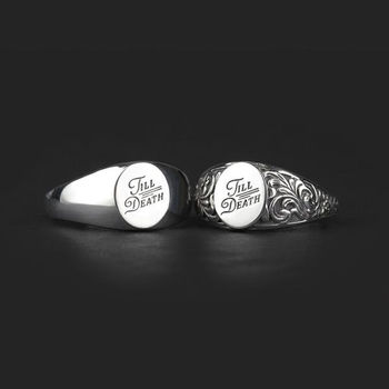 His And Hers Till Death Promise Signet Ring