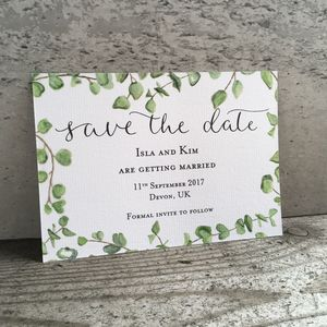 Eucalyptus Save The Date Card - wedding stationery
