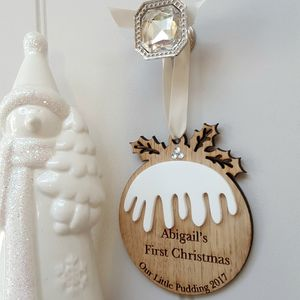 Our Little Christmas Pudding Oak And Acrylic Decoration