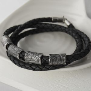 Silver Fingerprint Leather Wrap Bracelet - bracelets
