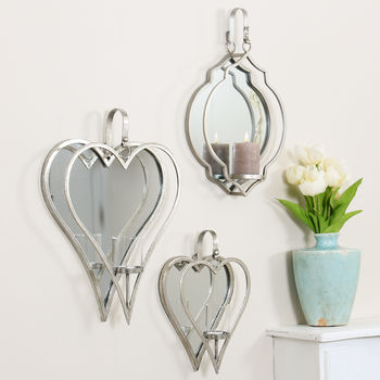 Silver J'adore Mirrored Candle Holders