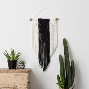 Black And Cream Macrame Wall Hanging - decorative accessories