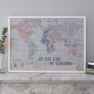 'I'm Not Lost..' Embroidered Fabric Map Notice Board