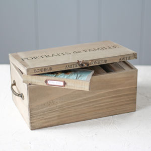 Personalised Large Wooden Family Photo Storage Box - filing & storage