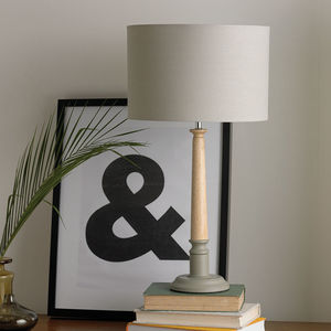 Two Tone Wooden Table Lamp Grey