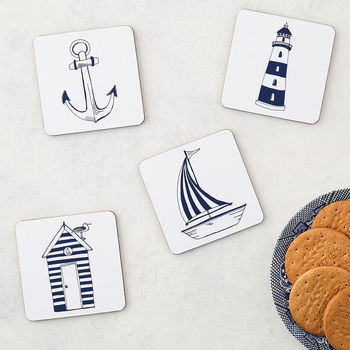 Nautical Beachscape Set Of Four Coasters