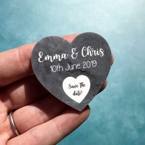 Slate Themed Heart Save The Date Wedding Magnets