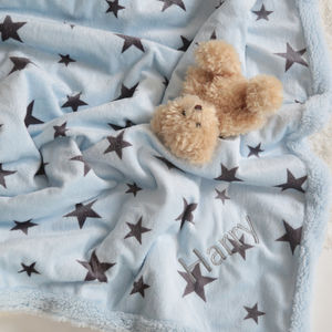 Personalised Luxury Blue Star Print Blanket - bedroom