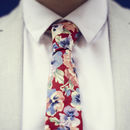 Bright Red Floral Tie