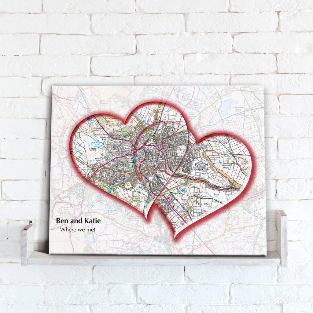 Personalised Love Hearts Map Canvas Print