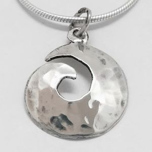 Silver Swirl Pendant With Hammered Finish