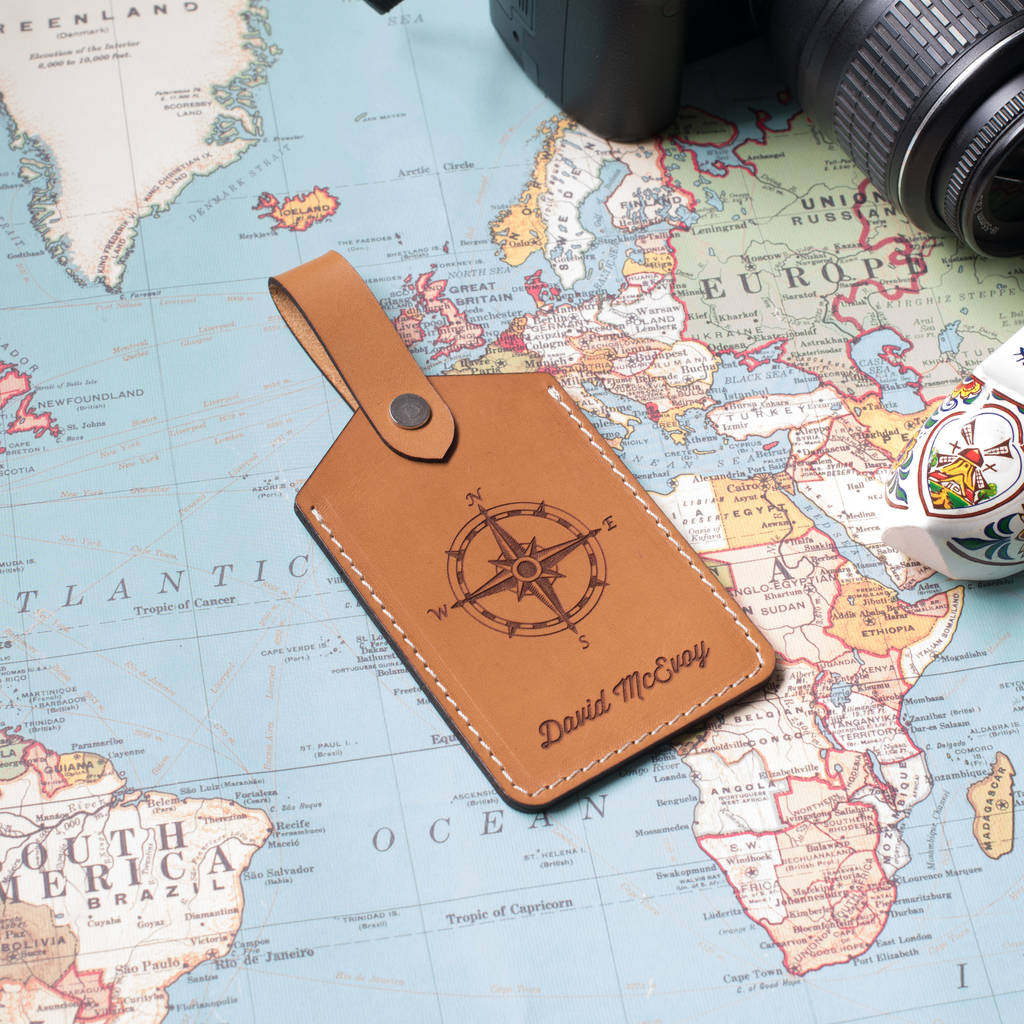 Tan Personalised Leather Travel Luggage Bag Tag
