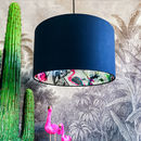 Grey Chi Miracle Lampshades In Deep Space Navy Cotton