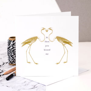 Flamingo Love Card; And Then You Kissed Me - summer sale