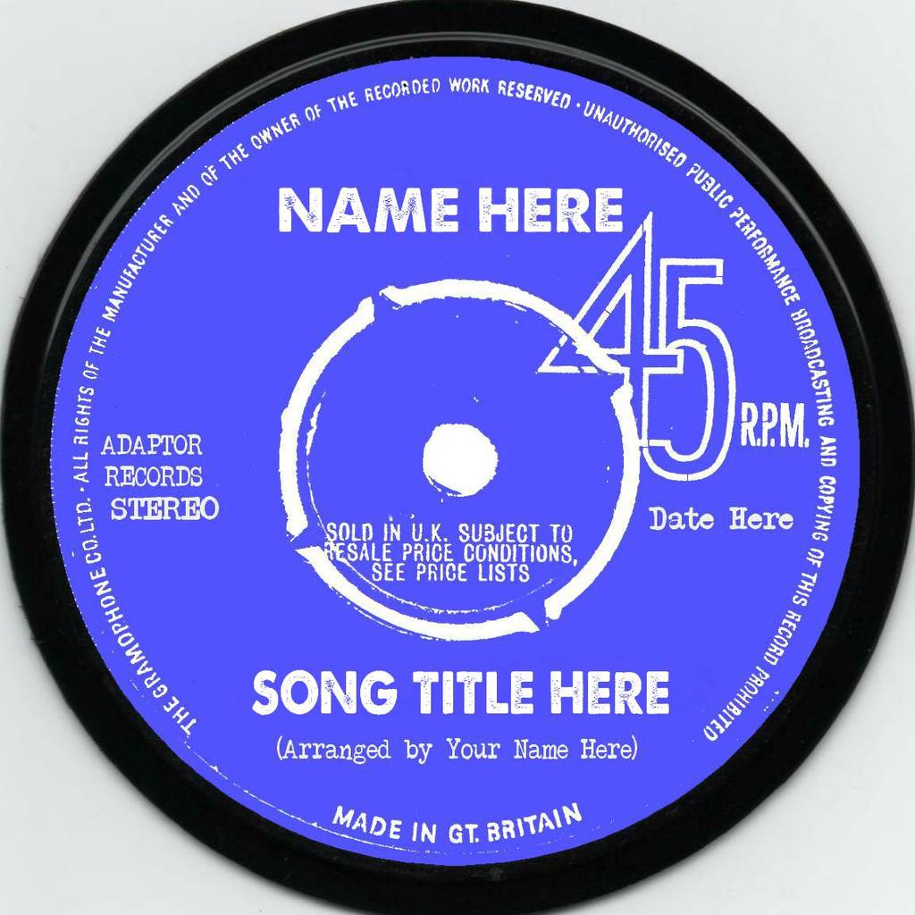 Real Vinyl Record Personalised Label 45rpm By Vinyl