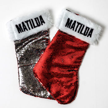 Personalised Christmas Stocking Sequin