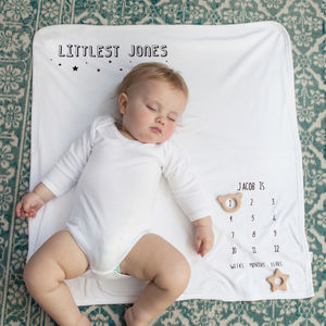 New baby gifts newborn baby gift ideas notonthehighstreet milestone personalised littlest surname baby blanket negle Image collections