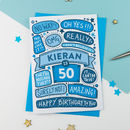 50th Omg Birthday Personalised Illustrated Card Blue
