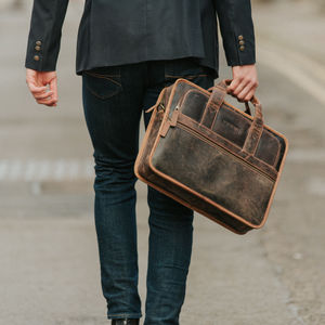 Leather Laptop Briefcase Bag - bags