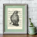 Raven Gocco Print On Vintage Sheet Music