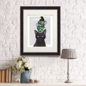 Cat With Cups And Blackbird, Book Print - pet portraits