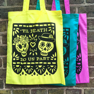 Day Of The Dead Screen Printed Cotton Shopping Tote Bag - trick or treat bags