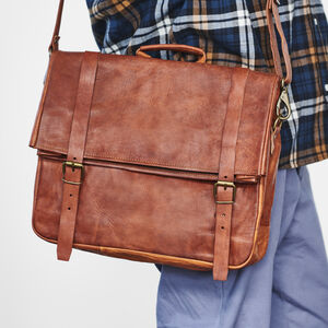 Personalised Leather Roll Top Messenger Laptop Bag