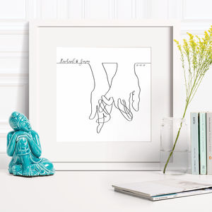 Wedding Line Drawing Hands Together Print - shop by subject