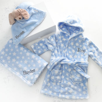 Personalised Baby Gown, Blanket, Comforter Gift Set
