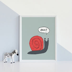 French Snail Art Print - drawings & illustrations