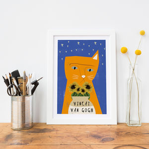 'Vincat Van Gogh' Cat Print - drawings & illustrations